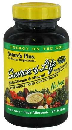 DROPPED: Nature's Plus - Source Of Life Multi-Vitamin & Mineral No Iron - 90 Vegetarian Tablets CLEARANCE PRICED