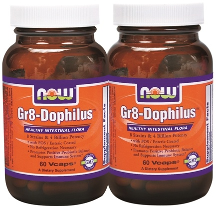 DROPPED: NOW Foods - Gr 8 Dophilus (60+60) Twin Pack Special - 120 Vegetarian Capsules