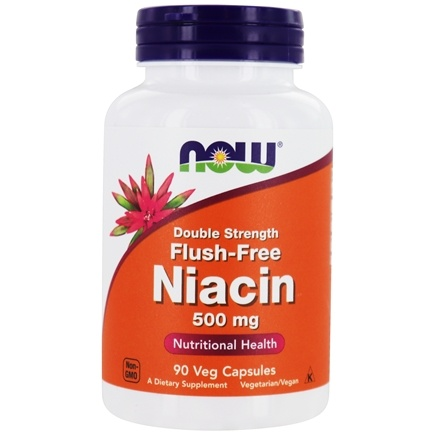 NOW Foods - Niacin Flush-Free Double Strength 500 mg. - 90 Vegetarian Capsules