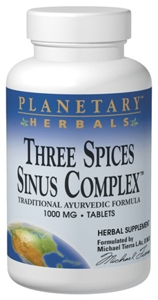 DROPPED: Planetary Herbals - Three Spices Sinus Complex Traditional Ayurvedic Formula 1000 mg. - 180 Tablets Formerly Planetary Formulas CLEARANCE PRICED