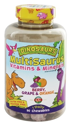 DROPPED: Kal - Dinosaurs MultiSaurus Vitamins & Minerals For Kids Berry, Grape & Orange - 90 Chewable Tablets