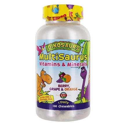 Kal - Dinosaurs MultiSaurus Vitamins & Minerals For Kids Berry, Grape & Orange - 180 Chewable Tablets