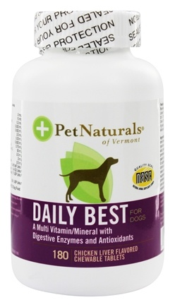 DROPPED: Pet Naturals of Vermont - Daily Best for Dogs Chicken Liver Flavored - 180 Chewable Tablets Formerly Natural Dog Daily