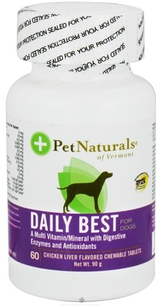 DROPPED: Pet Naturals of Vermont - Daily Best for Dogs Chicken Liver Flavored - 60 Chewable Tablets formerly Natural Dog Daily CLEARANCE PRICED