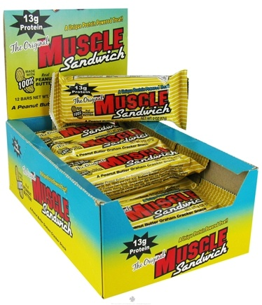 DROPPED: Muscle Foods - The Original Muscle Sandwich Peanut Butter Graham Cracker Snack Bar - 2 oz. CLEARANCE PRICED