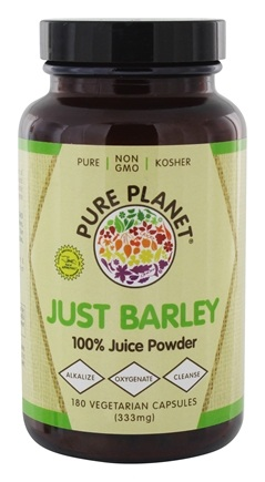 Pure Planet - Organic Raw Just Barley - 180 Vegetarian Capsules