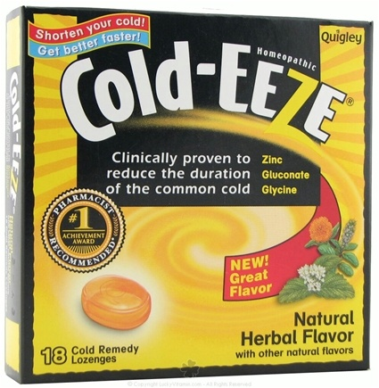 DROPPED: Cold-Eeze - Lozenges Natural Herbal Flavor - 18 Lozenges Formerly by Quigley