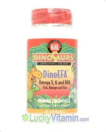 DROPPED: Kal - DinoSaurs Supplement For Kids - DinoEFA - Omega 3, 6 and DHA Orange Creamsicle Flavour - 30 Chewable Tablets