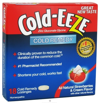 DROPPED: Cold-Eeze - Zinc Gluconate Glycine Cold Remedy All Natural Strawberries & Cream - 18 Lozenges Formerly by Quigley CLEARANCED PRICED