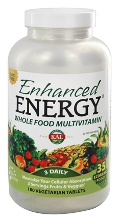 Kal - Enhanced Energy Whole Food Multivitamin Iron Free - 180 Vegetarian Tablets