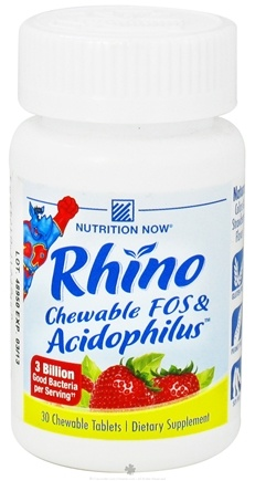 DROPPED: Nutrition Now - Rhino FOS & Acidophilus Strawberry 150 mg. - 30 Chewable Tablets