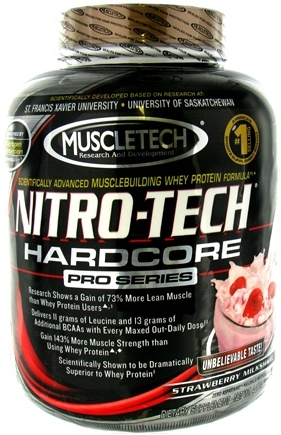 DROPPED: Muscletech Products - Nitro-Tech Hardcore Pro Series Strawberry Milkshake - 4 lbs. CLEARANCE PRICED