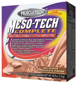 DROPPED: Muscletech Products - Meso-Tech Complete Advanced Musclebuilding Meal Supplement Chocolate Creme Flavor - 20 Packet(s)