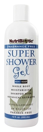 Nutribiotic - Super Shower Gel Non-Soap Shampoo with GSE Fragrance Free - 12 oz.