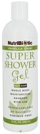 DROPPED: Nutribiotic - Super Shower Gel Non-Soap Shampoo With GSE Vanilla Chai Scent - 12 oz. CLEARANCE PRICED