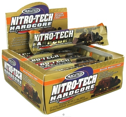DROPPED: Muscletech Products - Nitro-Tech Hardcore Bar Double Chocolate - 2.8 oz. CLEARANCE PRICED