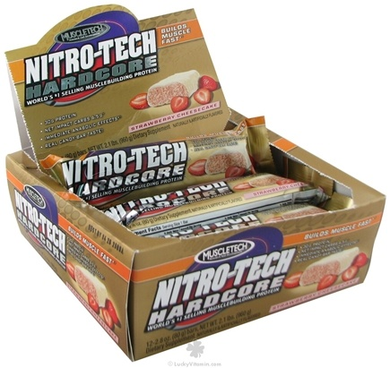 DROPPED: Muscletech Products - Nitro-Tech Hardcore Bar Strawberry Cheesecake - 2.8 oz. CLEARANCE PRICED