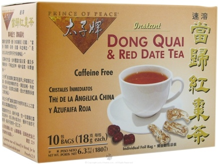 DROPPED: Prince of Peace - Instant Dong Quai & Red Date Tea Caffeine Free - 10 Tea Bags CLEARANCE PRICED
