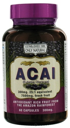 DROPPED: Only Natural - Acai 300 mg. - 60 Capsules CLEARANCE PRICED