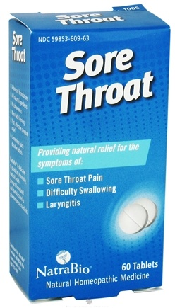 DROPPED: NatraBio - Sore Throat - 60 Tablets CLEARANCE PRICED