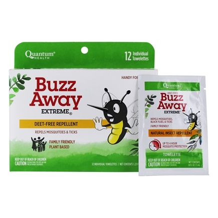 DROPPED: Quantum Health - Buzz Away Natural Insect Repellent - 12 Towelette(s) CLEARANCE PRICED