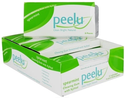 DROPPED: Peelu - Chewing Gum with Xylitol Spearmint - 8 Piece(s) CLEARANCE PRICED