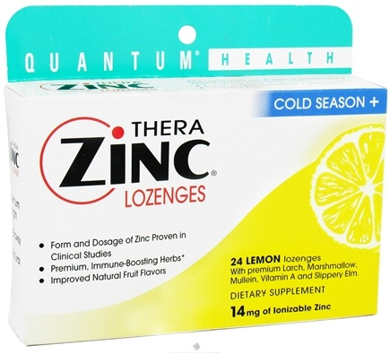DROPPED: Quantum Health - Thera Zinc Cold Season Plus Lozenges Lemon 14 mg. - 24 Lozenges CLEARANCE PRICED