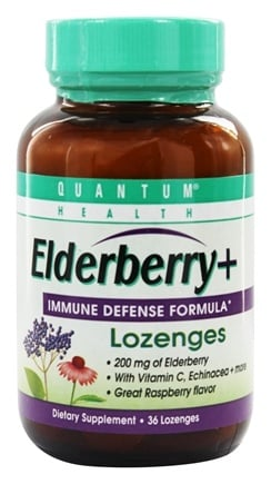 Quantum Health - Elderberry Immune Defense Lozenges Great Raspberry Taste - 36 Lozenges