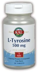 DROPPED: Kal - L-Tyrosine 500 mg. - 30 Tablets