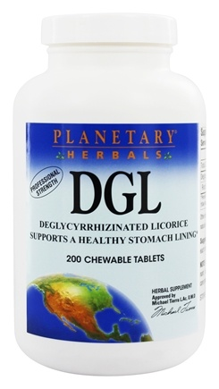 Planetary Herbals - DGL Deglycyrrhizinated Licorice - 200 Chewable Tablets Formerly Planetary Formulas