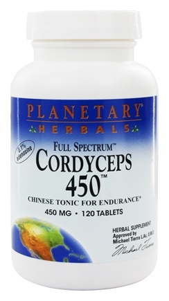 Planetary Herbals - Cordyceps 450 Full Spectrum 450 mg. - 120 Tablets Formerly Planetary Formulas