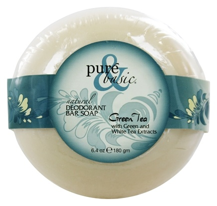 Pure & Basic - Natural Deodorant Bar Soap Green Tea - 6.4 oz.
