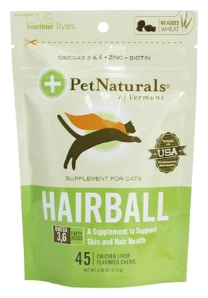 DROPPED: Pet Naturals of Vermont - Hairball Soft Chews For Cats Chicken Liver Flavored - 45 Chewables