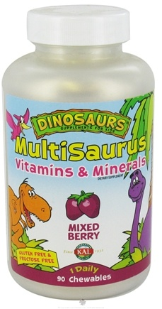 DROPPED: Kal - Dinosaurs Multisaurus Vitamins & Minerals Mixed Berry - 90 Chewable Tablets