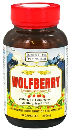 DROPPED: Only Natural - Wolfberry 200 mg. - 60 Capsules CLEARANCE PRICED