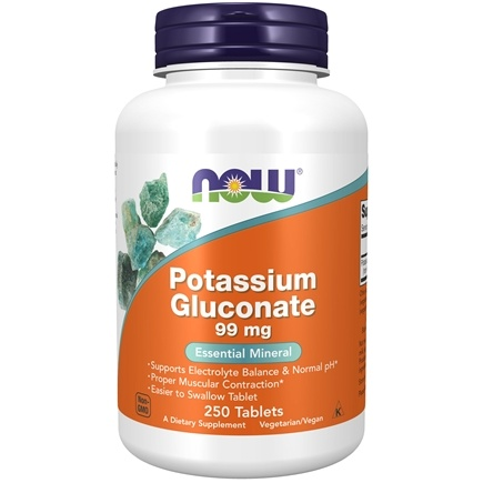 NOW Foods - Potassium Gluconate 99 mg. - 250 Tablets