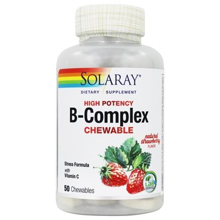 Solaray - B-Complex Chewable Strawberry Kiwi Flavor - 50 Chewable Wafers