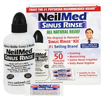 NeilMed Pharmaceuticals - Sinus Rinse All Natural Relief Kit - 50 Premixed Packets
