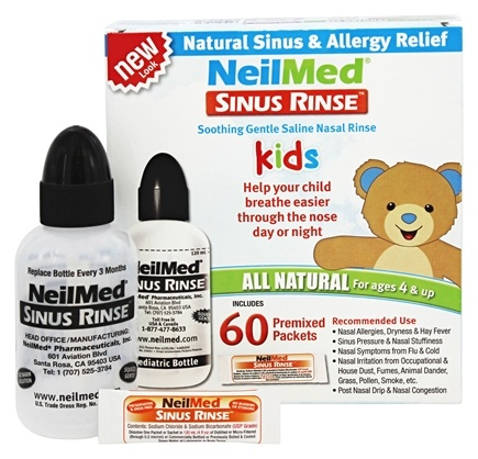 NeilMed Pharmaceuticals - Sinus Rinse Kids All Natural Kit - 60 Premixed Packets