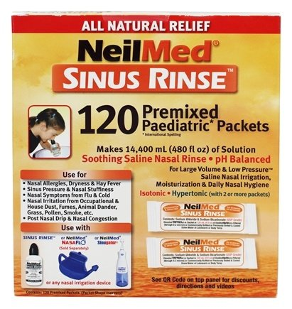 NeilMed Pharmaceuticals - Sinus Rinse Kids All Natural - 120 Premixed Packets