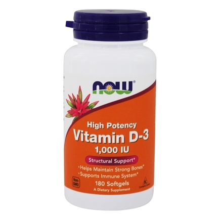 NOW Foods - Vitamin D-3 High Potency 1000 IU - 180 Softgels