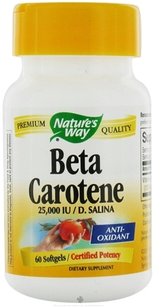 DROPPED: Nature's Way - Beta Carotene D. Salina - Certified Potency 25000 IU - 60 Softgels