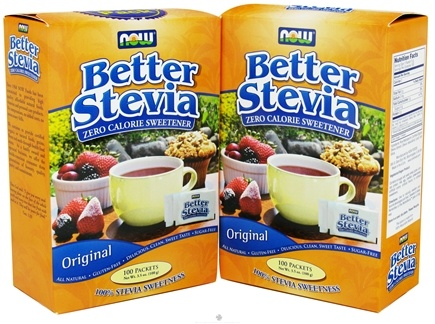 DROPPED: NOW Foods - Better Stevia Zero Calorie Sweetener Twin Pack 2 X 100 Packets Original Flavor