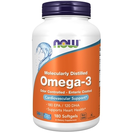 NOW Foods - Omega-3 Enteric Coated Odor Controlled Molecularly Distilled 1000 mg. - 180 Softgels