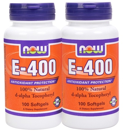 DROPPED: NOW Foods - Vitamin E- D-Alpha Tocopheryl Twin Pack Special (2 x 100 softgels) 400 IU