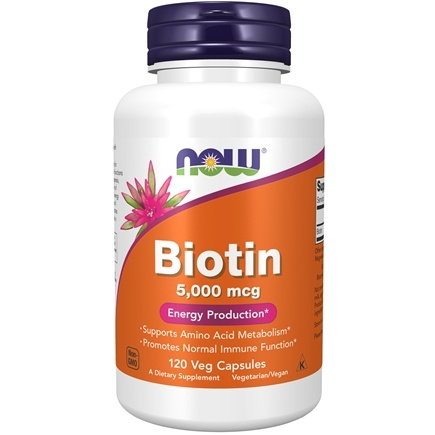 NOW Foods - Biotin 5000 mcg. - 120 Vegetarian Capsules