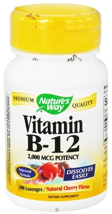 DROPPED: Nature's Way - Vitamin B12 Natural Cherry Flavor 2000 mcg. - 100 Lozenges CLEARANCE PRICED