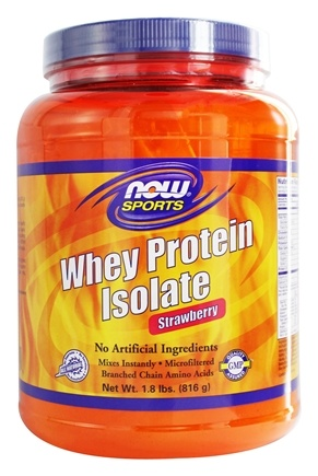 NOW Foods - Whey Protein Isolate Strawberry - 1.8 lbs.