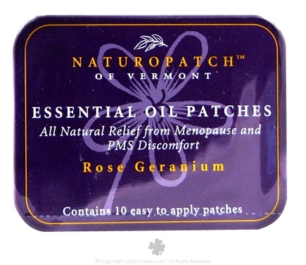 Natural Patches of Vermont - Soothing PMS and Menopause Formula Essential Oil Body Patches Rose Geranium - 10 Patch(es) Formerly Naturopatch