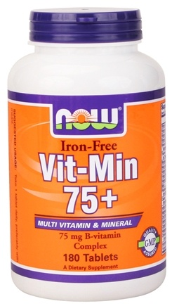 DROPPED: NOW Foods - Vit-Min 75+ Multiple Vitamin (Iron-Free) - 180 Tablets